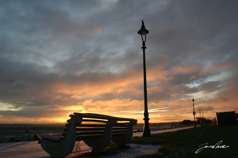 Bench at the seaffront on sandymount beach
