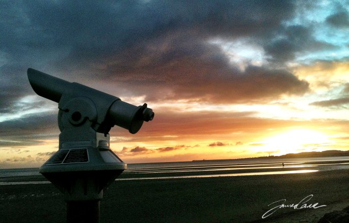 telescope looking to sea at sandymount strand