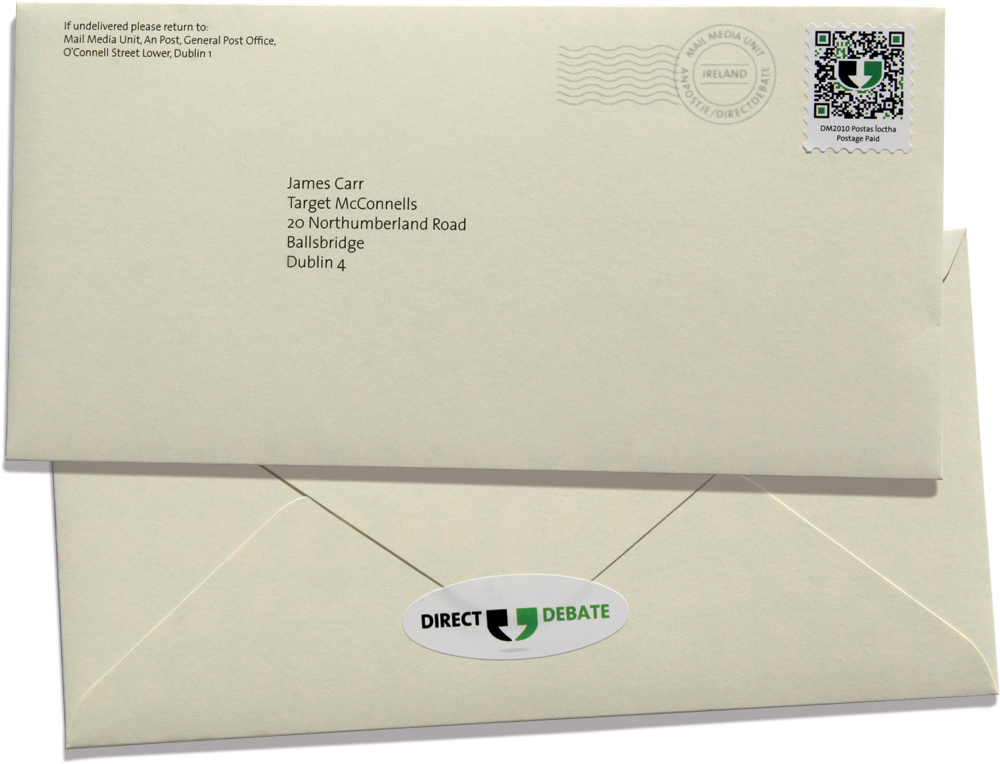 custom-made envelope with a custom-made QR code stamp and postmark