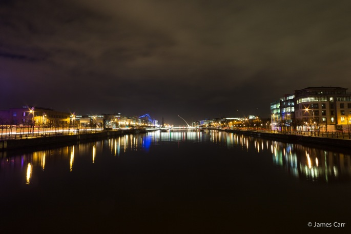 Sean O'Casey Bridge, with Samuel Beckett Bridge and the National Convention Centre in the background, Friday Feb 13th 2015